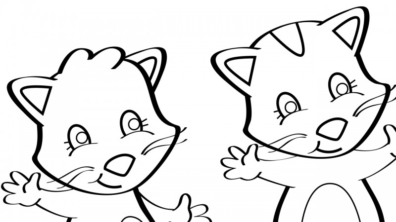 image for three little kittens coloring page - Kittens Coloring Pages